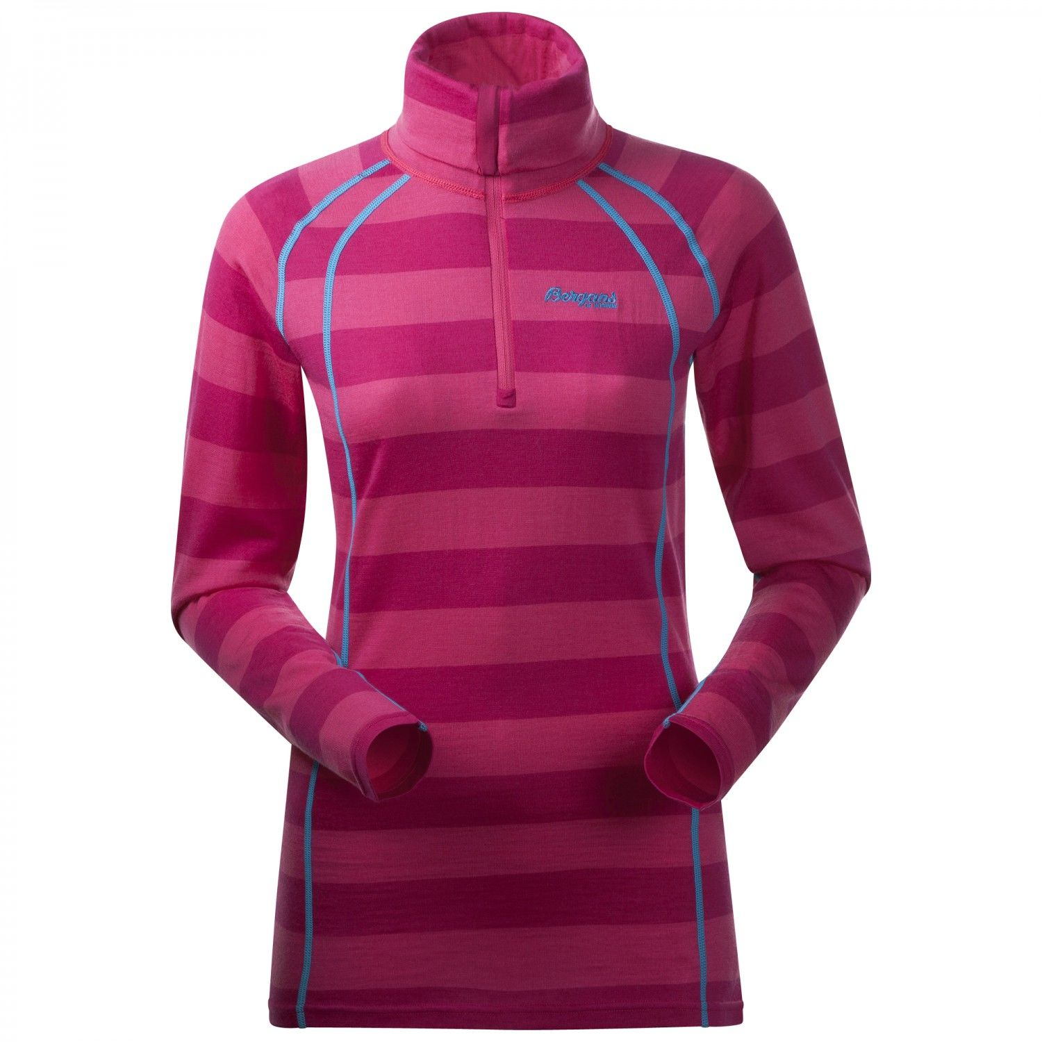 Bergans Fjellrapp Lady Half Zip, Hot Pink Striped | Damen Langarm-Shirt