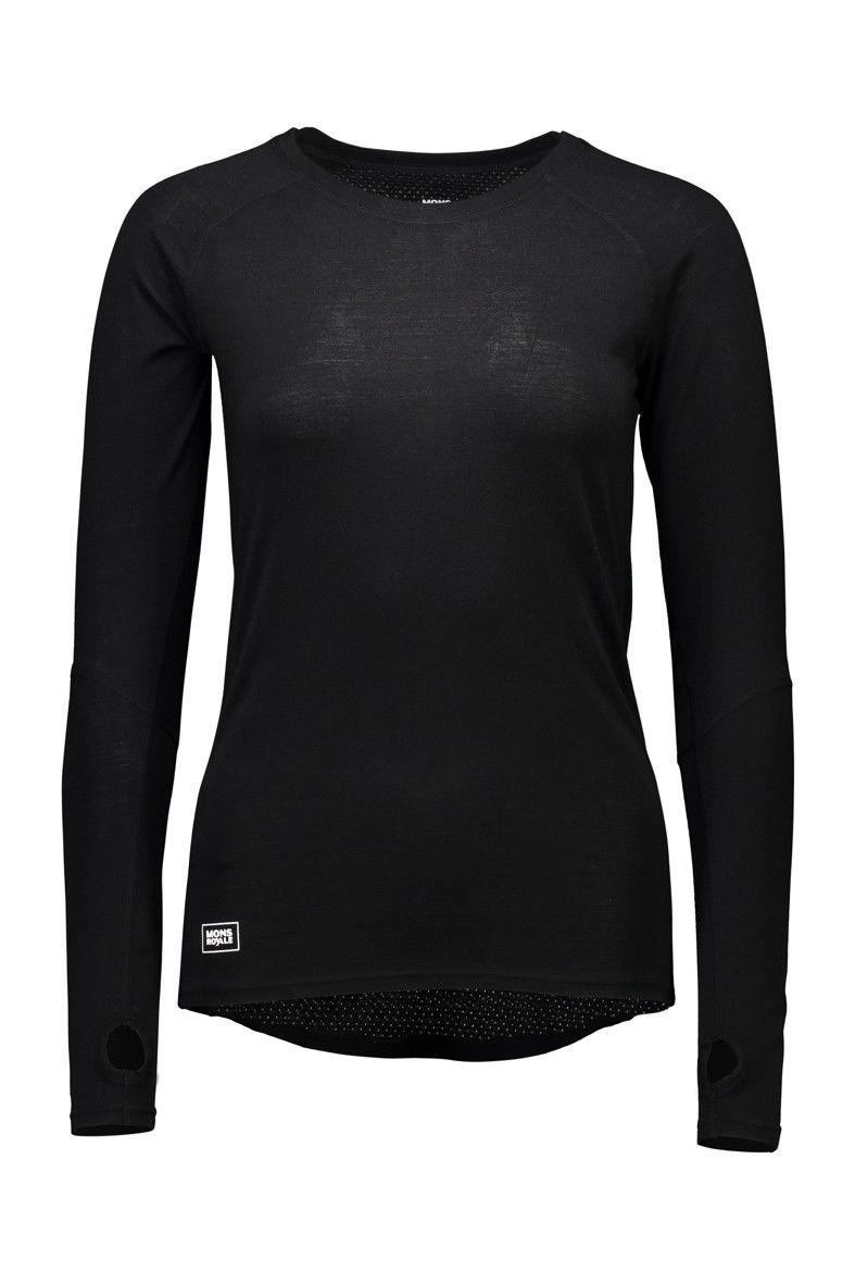 Mons Royale Merino Bella Tech Long-Sleeve Schwarz, Female Merino Langarm-Shirt,