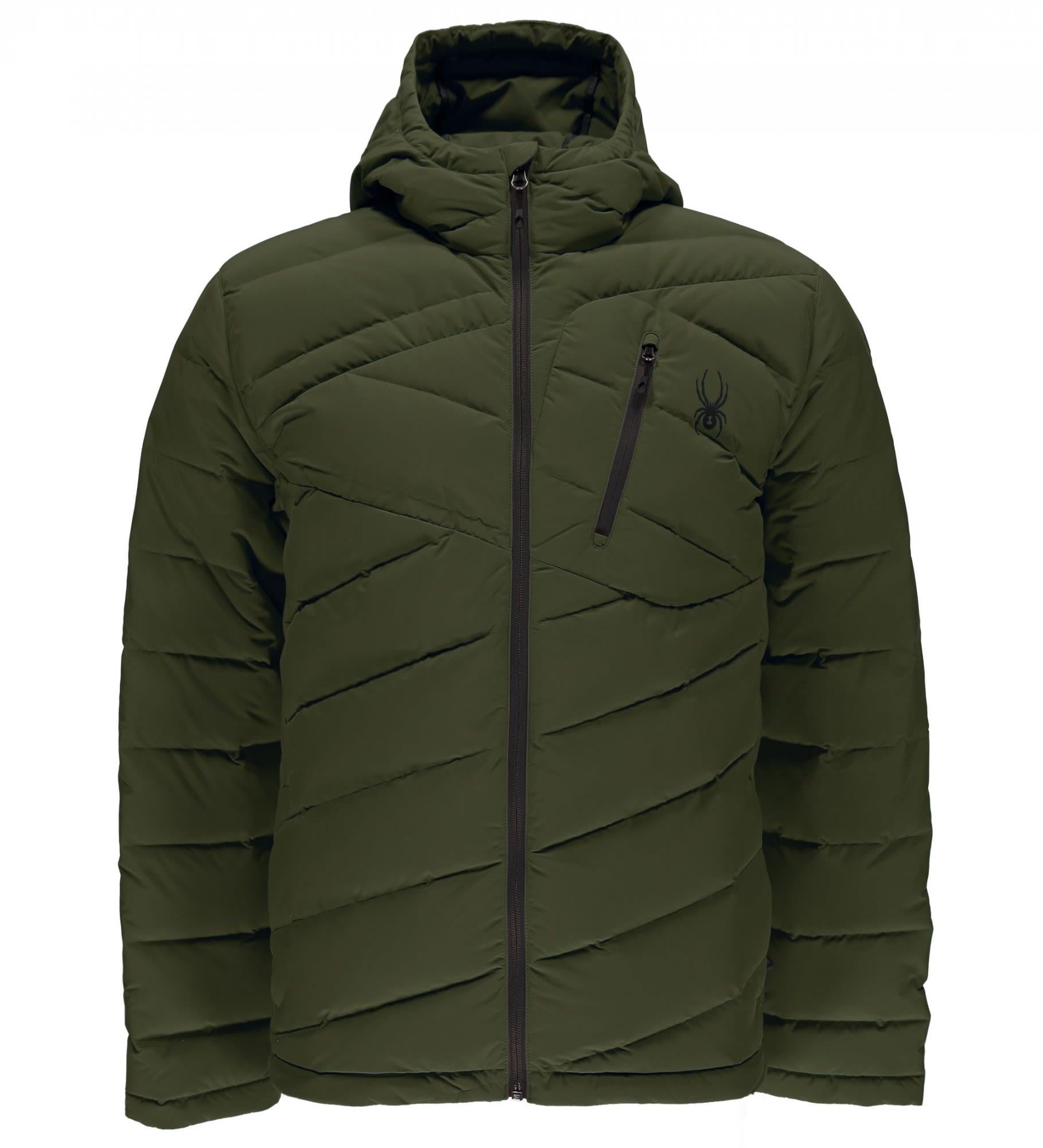 Spyder Syrround Hoody Down Jacket (Modell Winter 2017) Grün, Male Daunen Daunen