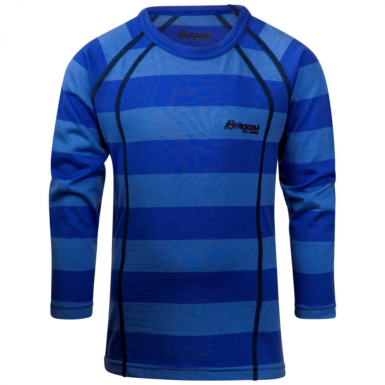 Bergans Fjellrapp Kids Shirt Gestreift, Merino 92 -Farbe Sky Blue Striped, 92