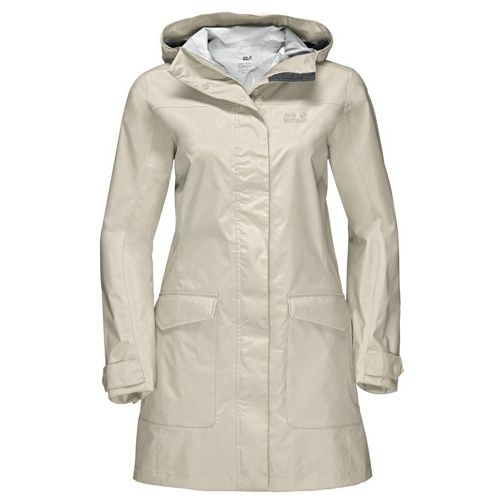 Jack Wolfskin Crosstown Raincoat Beige, Female Freizeitmantel, L