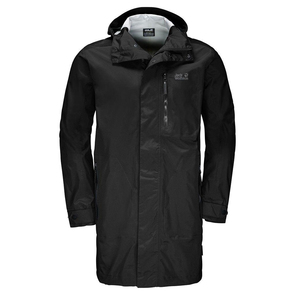 Jack Wolfskin Crosstown Raincoat Schwarz, Male Freizeitmantel, XXL
