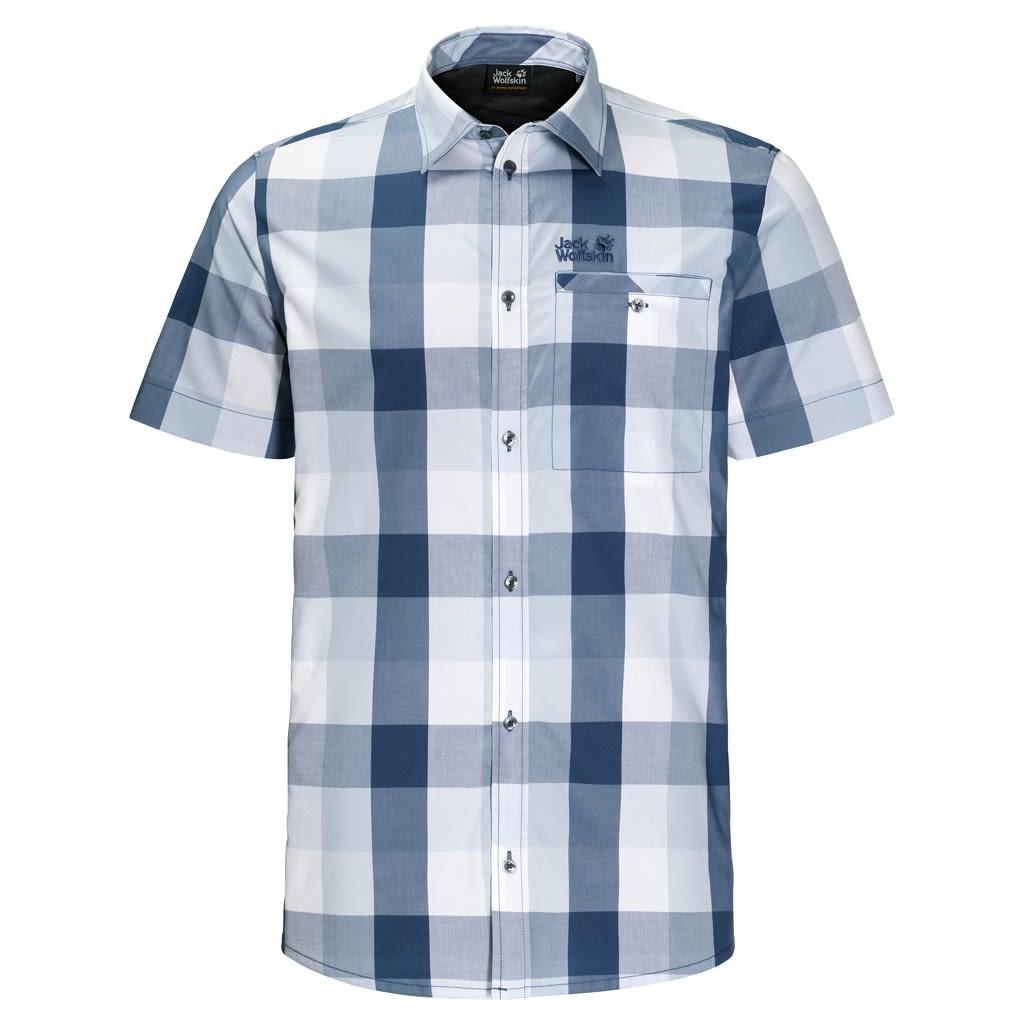 Jack Wolfskin Fairford Shirt Blau, Male Kurzarm-Hemd, XL