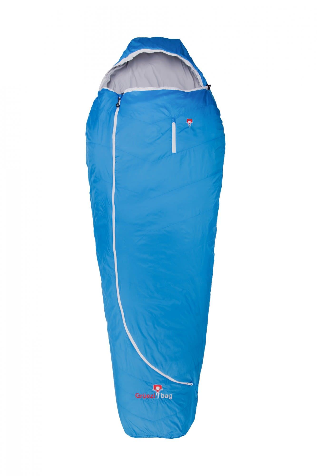 Grüezi Bag Biopod Wolle Plus Blau, Daunen Wollschlafsack, 215 cm -RV rechts