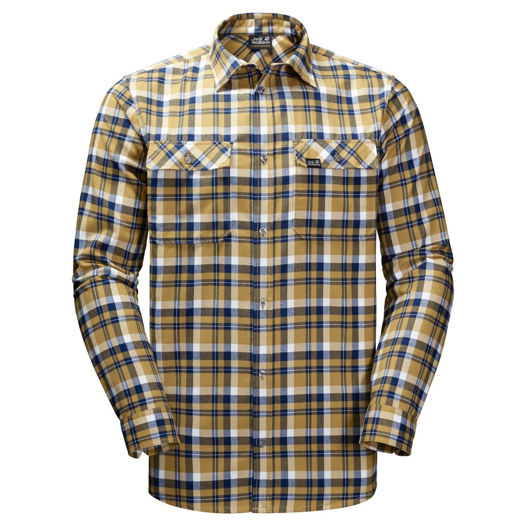 Jack Wolfskin BOW Valley Shirt Gelb, Male XL -Farbe Golden Amber Checks, XL