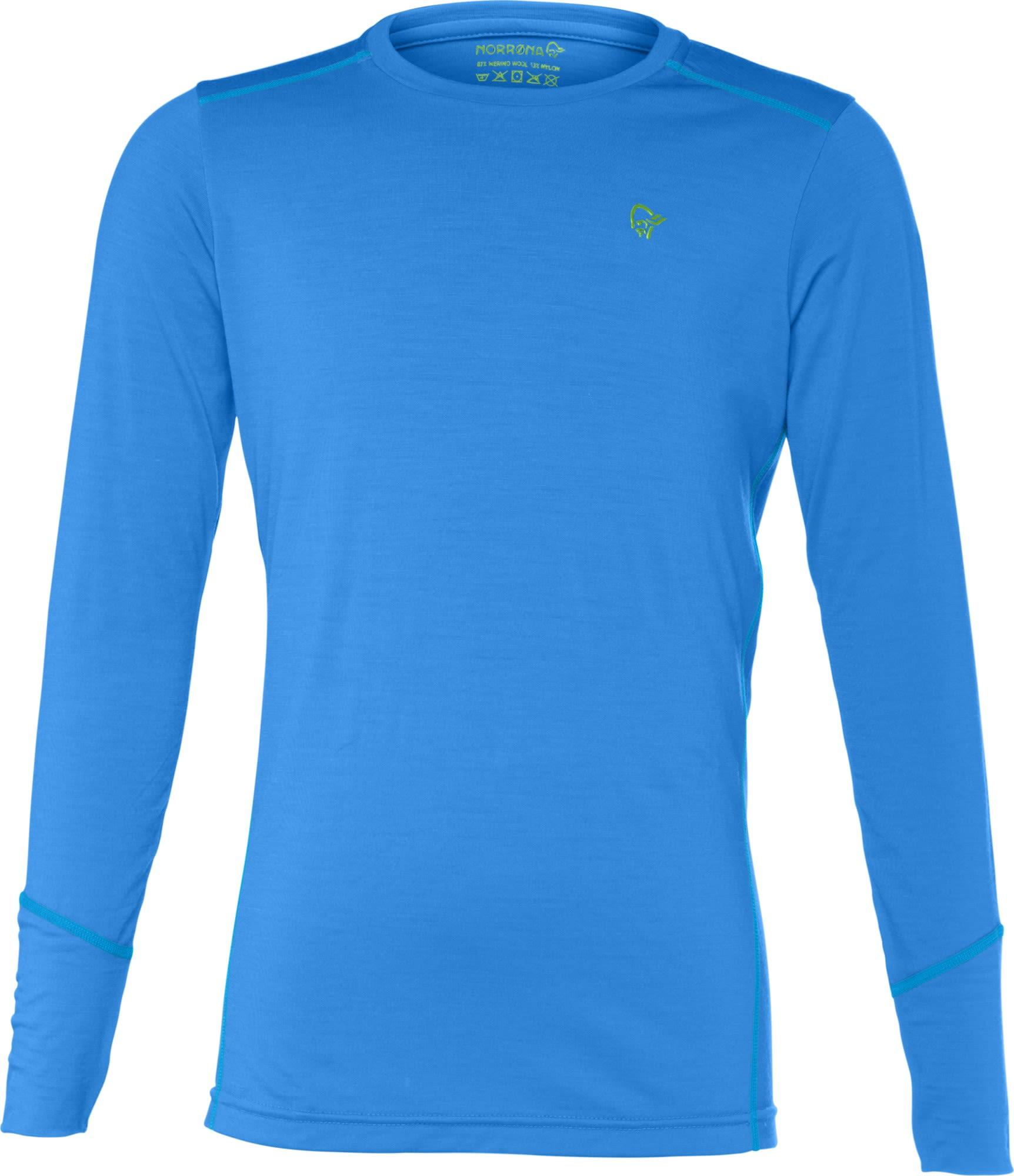 Norrona Junior Wool Round Neck Blau, Merino 128 -Farbe Signal Blue, 128