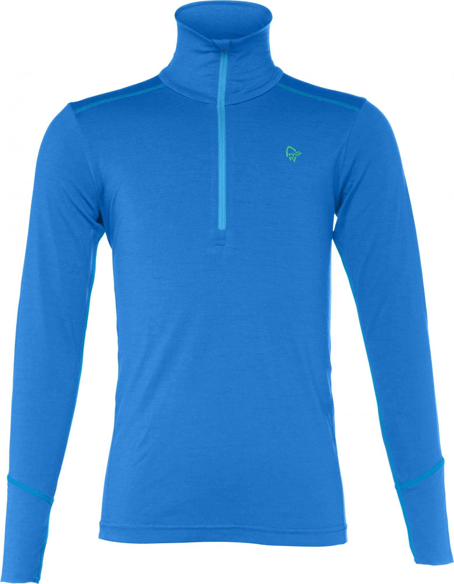 Norrona Junior Wool Zip Neck Blau, Merino 140 -Farbe Signal Blue, 140