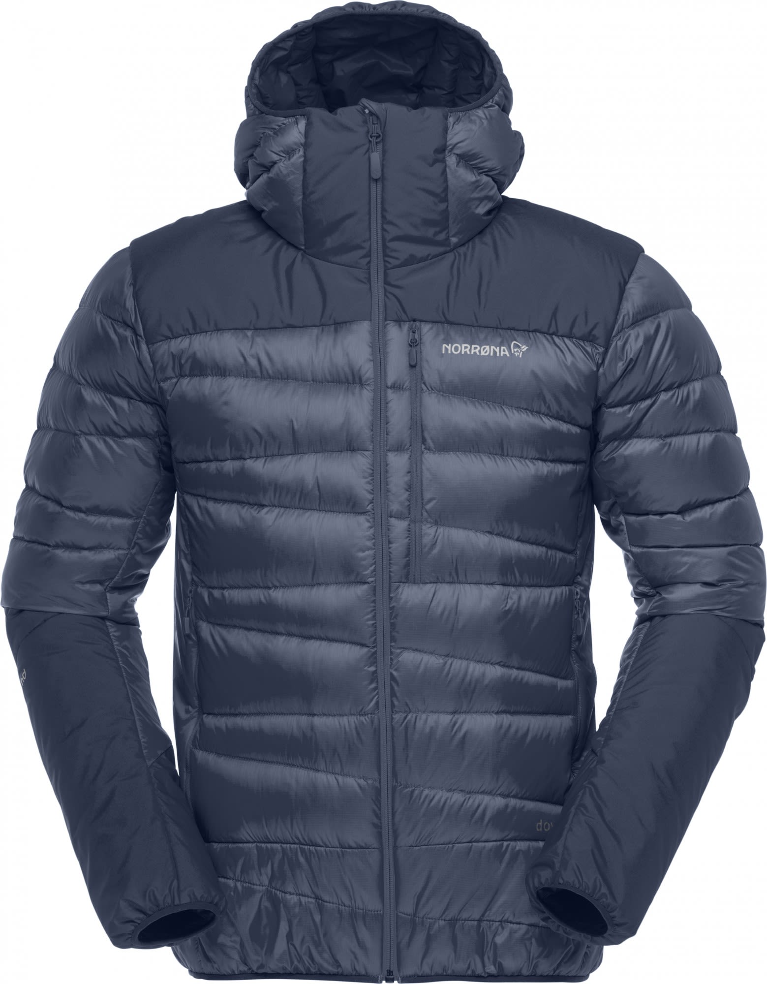 Norrona Falketind Down750 Hood Jacket Blau, Male Daunen L -Farbe Indigo Night, L