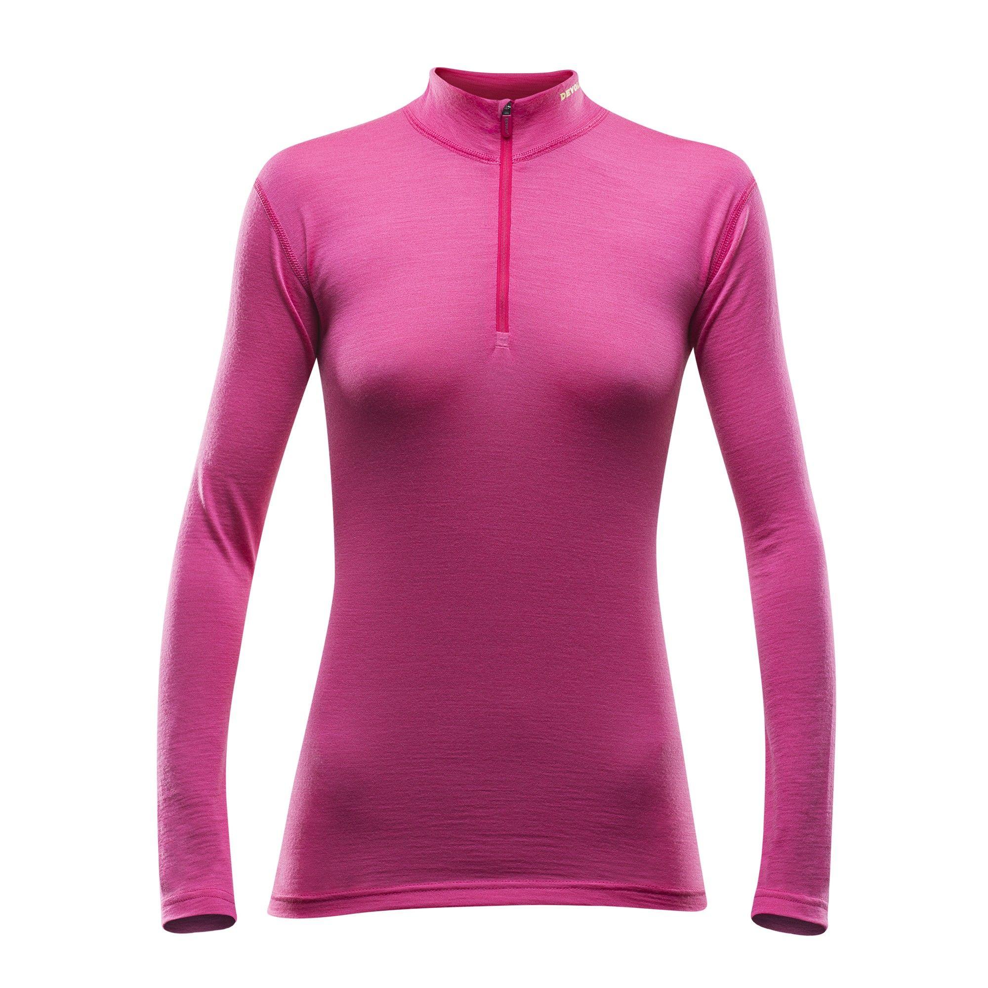 Devold Breeze Woman Half Zip Neck Pink, Female Merino Oberteil, M