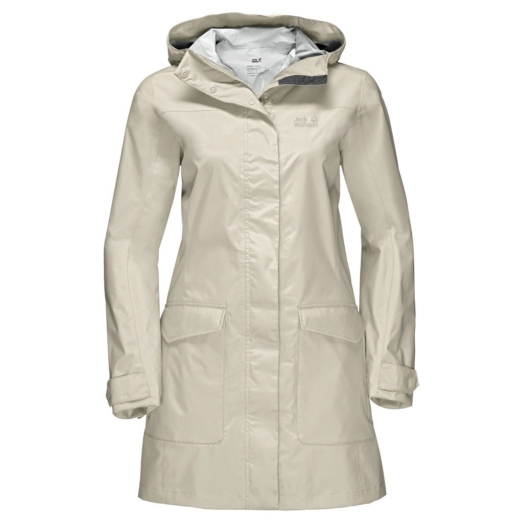 Jack Wolfskin Crosstown Raincoat Beige, Female L -Farbe White Sand, L