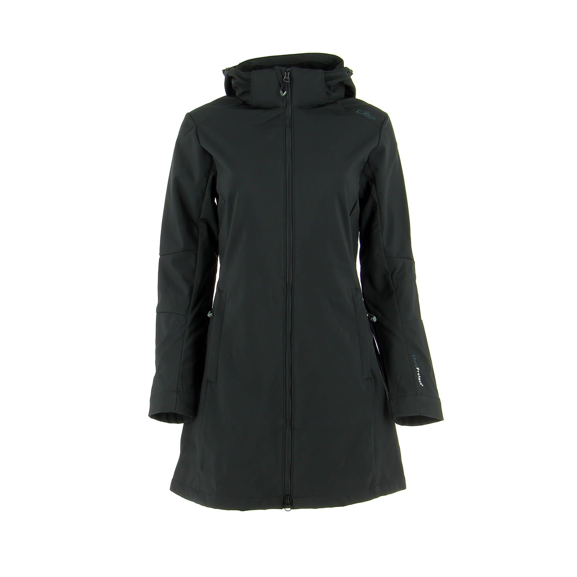 CMP Zip Hood Coat Softshell Schwarz, Female Freizeitmantel, 42