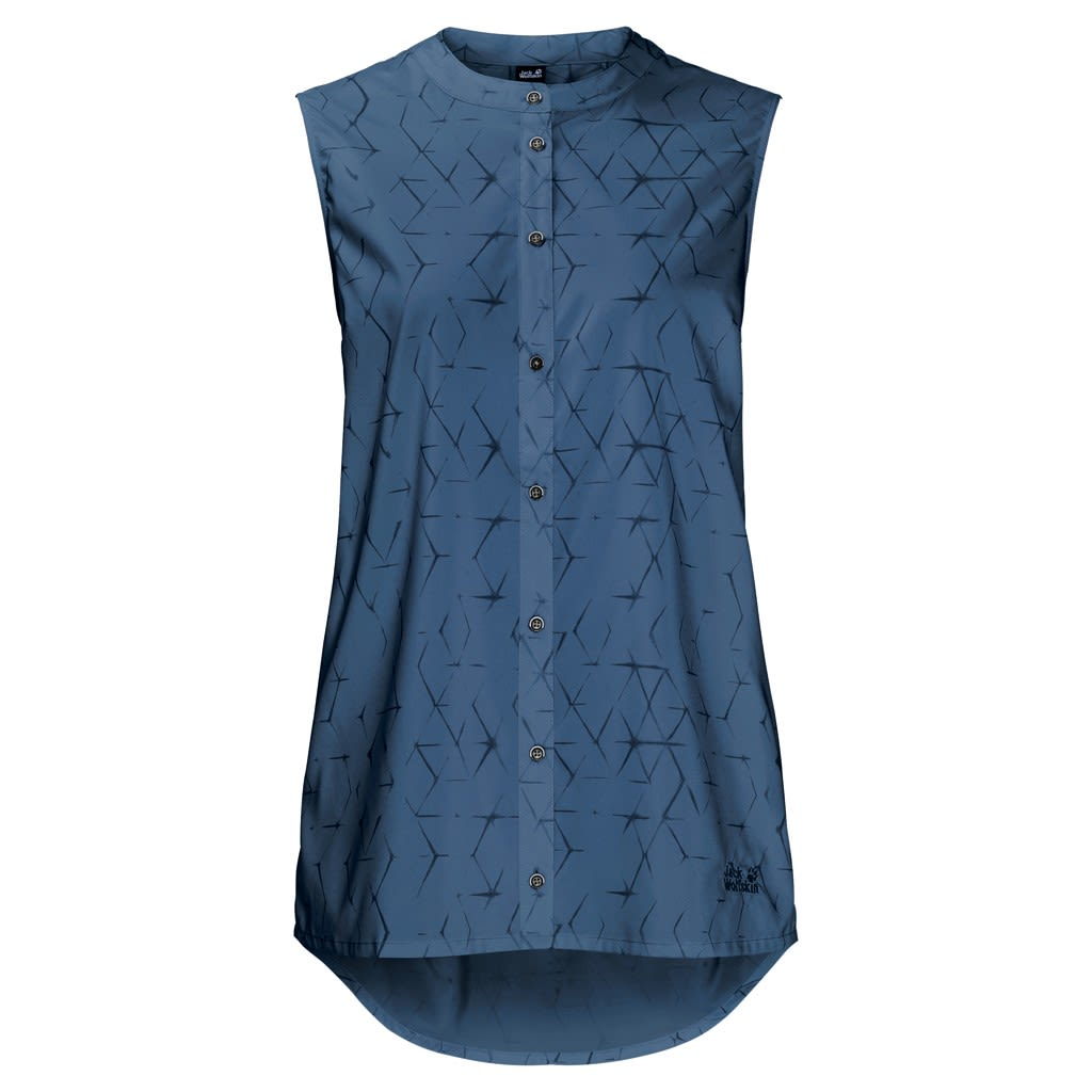 Jack Wolfskin Sonora Shibori Sleeveless Blau, Female Kurzarm-Shirt, L