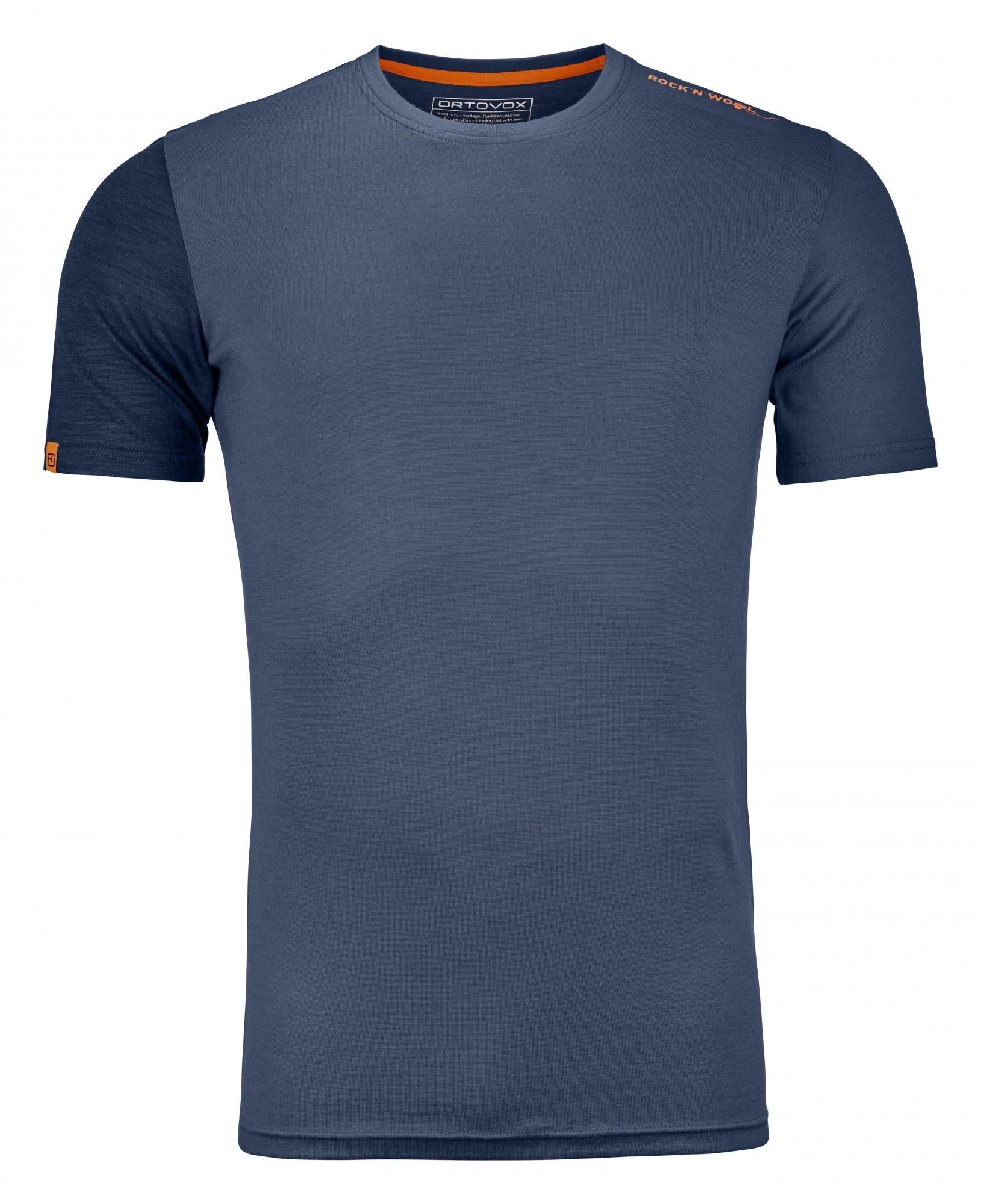 Ortovox 185 Merino Rock'n'wool Short Sleeve Blau, Male Merino Kurzarm-Shirt, L