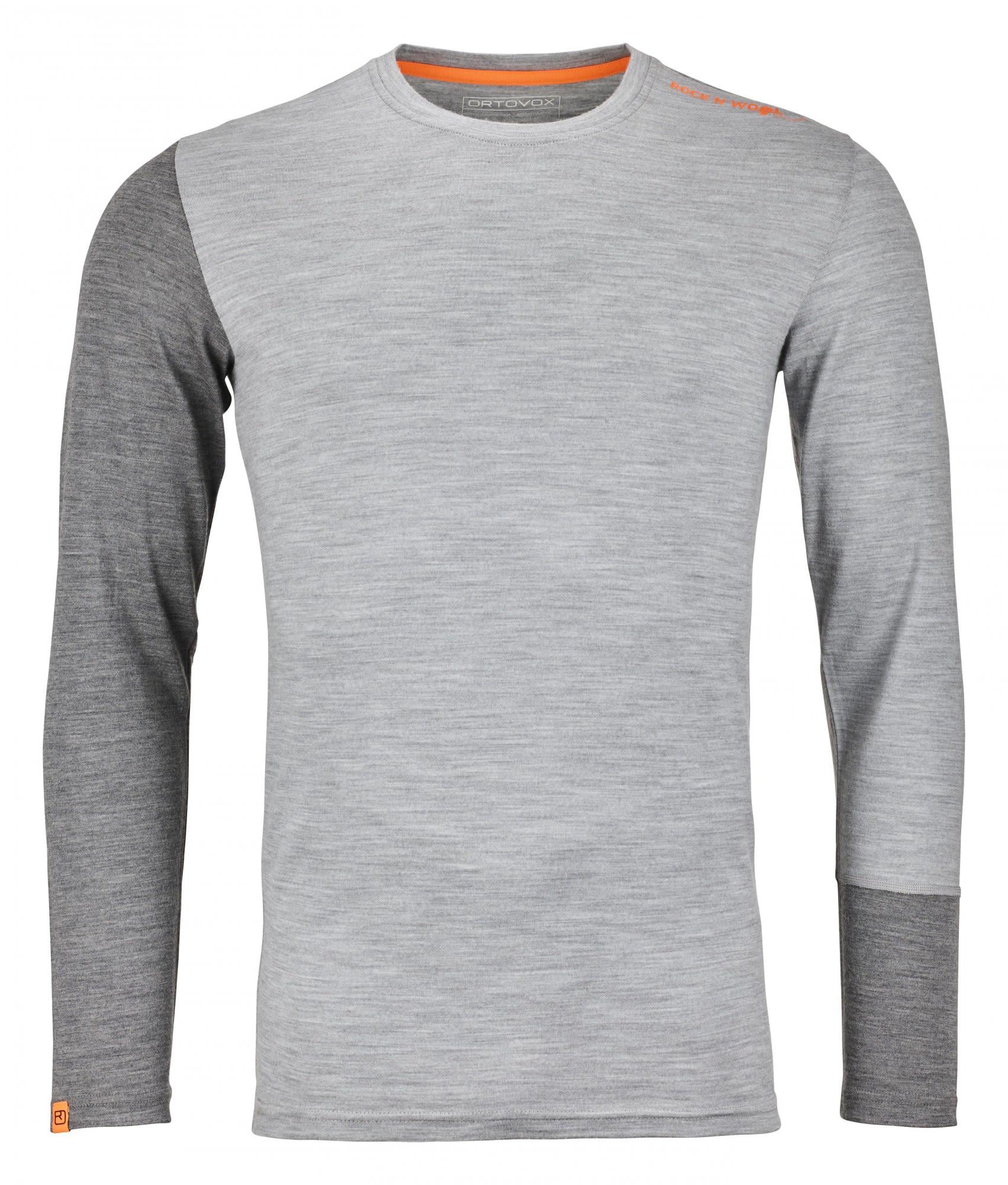 Ortovox 185 Merino Rock'n'wool Long Sleeve Grau, Male Merino Langarm-Shirt, M