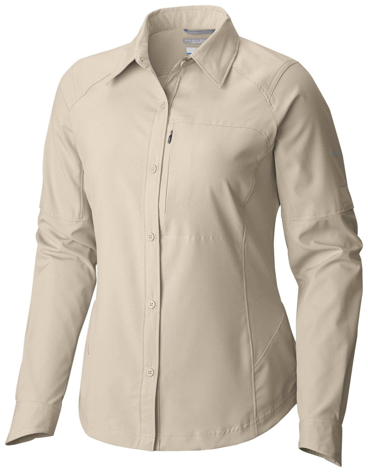 Columbia Silver Ridge Long Sleeve Shirt Beige, Female Langarm-Hemd, M