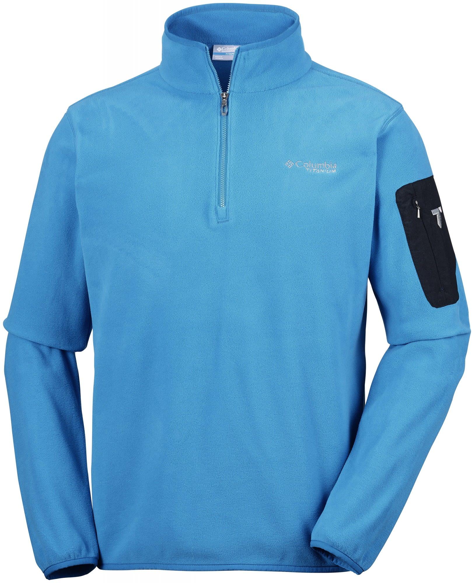 Columbia Titan Pass 1.0 Half Zip Fleece Blau, Male Polartec® Freizeitpullover,