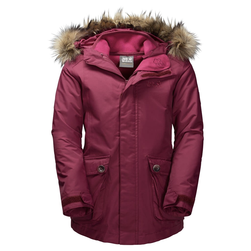 Jack Wolfskin Girls ELK Island 3in1 Parka (Modell Winter 2017) Rot, Female Fleec