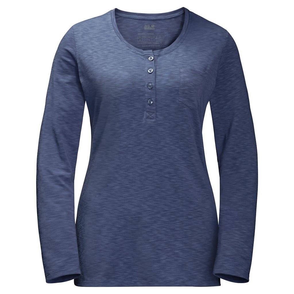 Jack Wolfskin Winter Travel Henley Blau, Female Langarm-Shirt, L