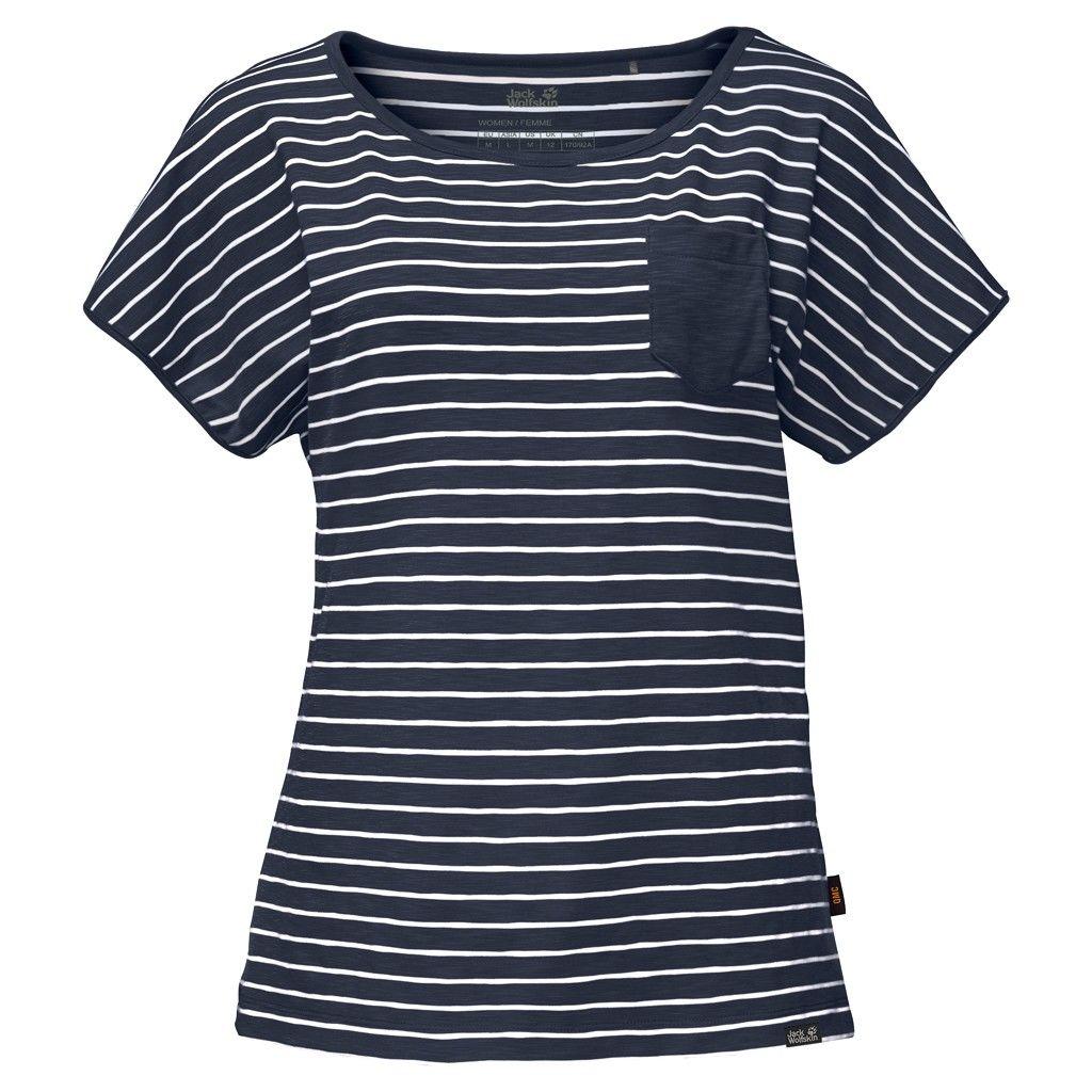 Jack Wolfskin Travel Striped T Blau, Female Kurzarm-Shirt, XS