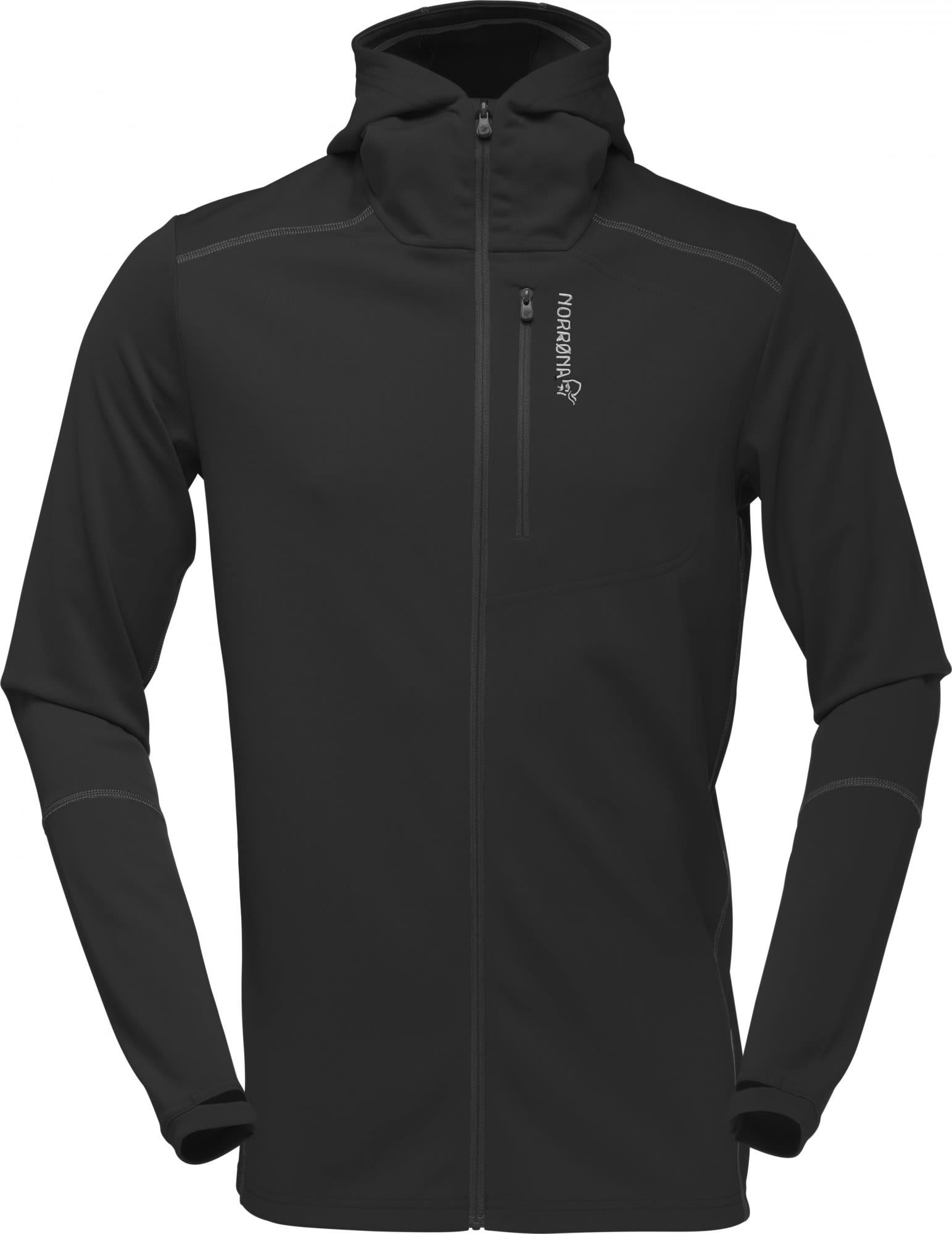 Norrona Trollveggen Warm/Wool1 Zip Hoodie Schwarz, Male Merino Freizeitjacke, XL